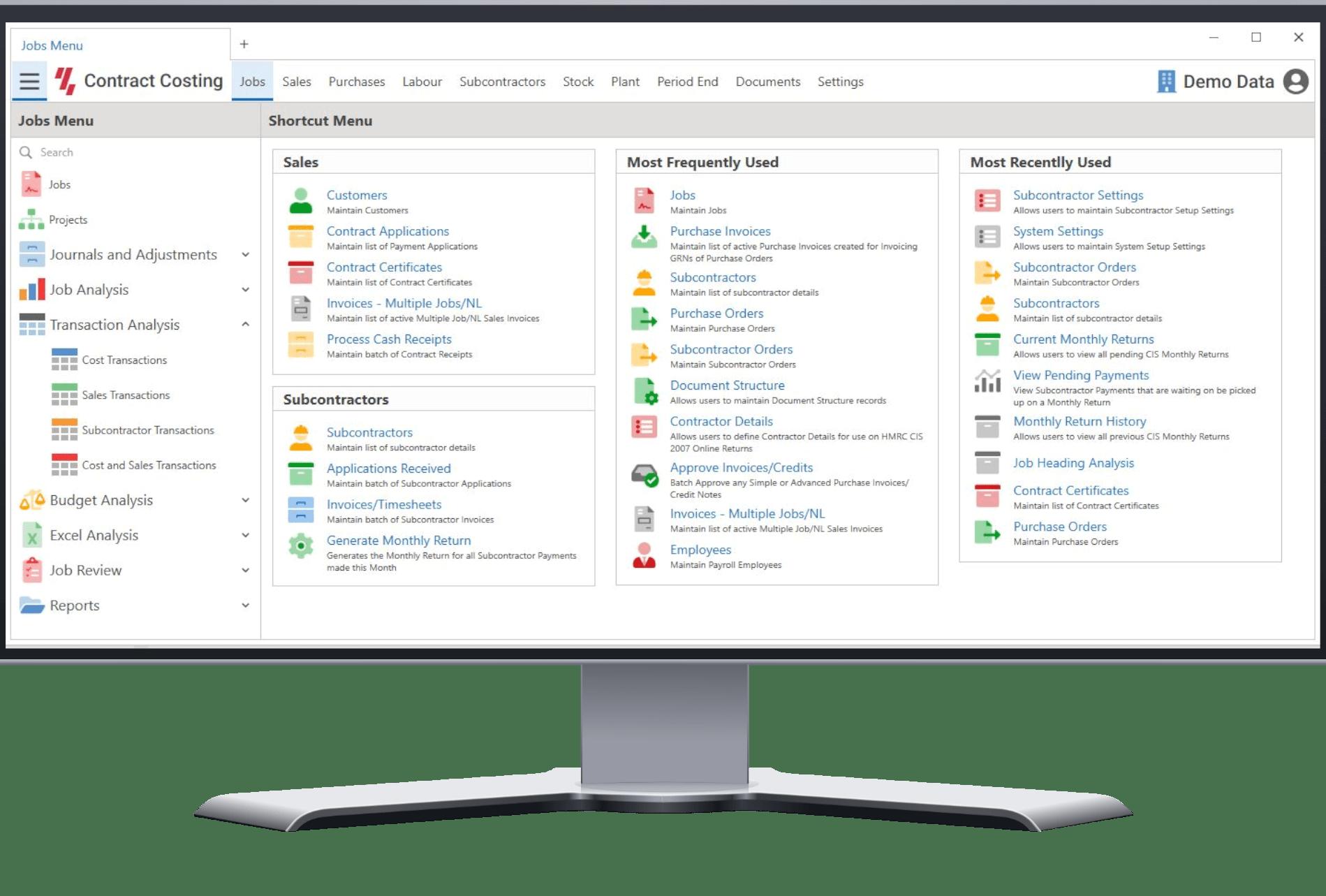 Contract management screenshot